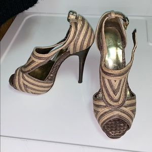 Bakers Marisela Tan Open Toe High Heels size 6